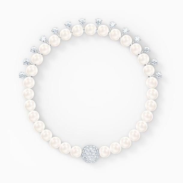 Treasure gyöngy karkötő, fehér, ródium bevonattal - Swarovski, 5572683