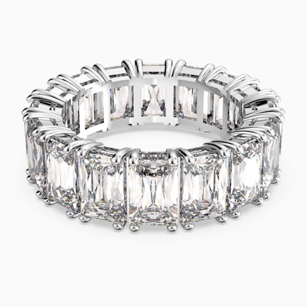 Πλατύ δαχτυλίδι Vittore, λευκό, επιροδιωμένο - Swarovski, 5572689