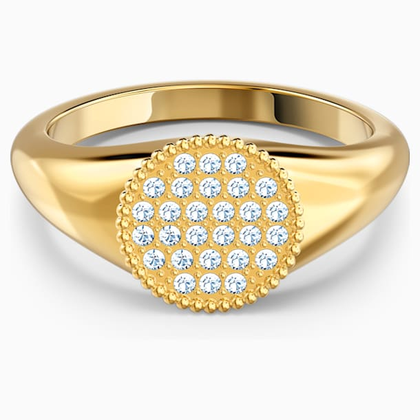 Ginger Signet Ring, White, Gold-tone plated - Swarovski, 5572698