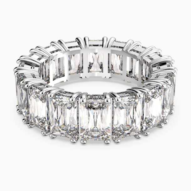 Vittore széles gyűrű, fehér, ródium bevonattal - Swarovski, 5572699