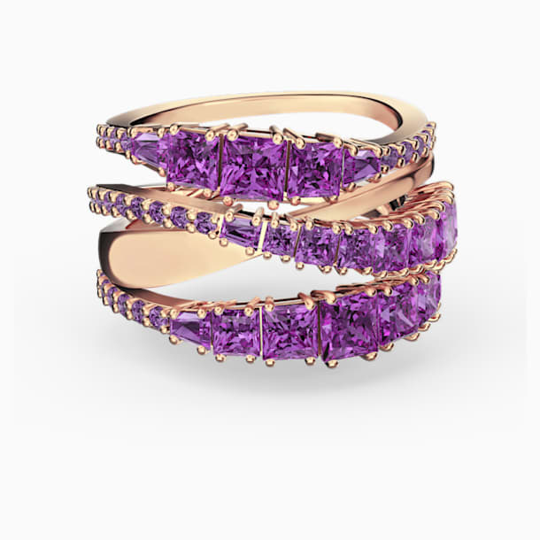 Spleciony pierścionek Twist, fioletowy, powłoka w odcieniu różowego złota - Swarovski, 5572720
