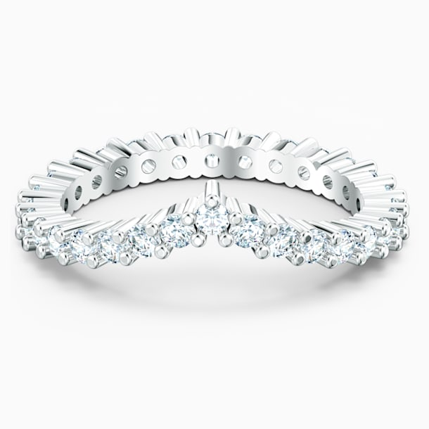 Vittore V-alakú gyűrű, fehér, ródium bevonattal - Swarovski, 5572815