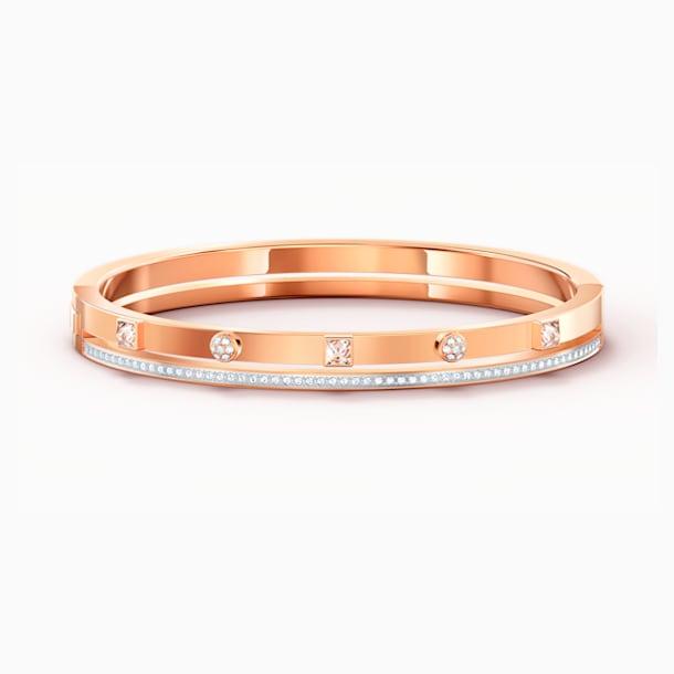 Thrilling Bangle, White, Rose-gold tone plated - Swarovski, 5572914