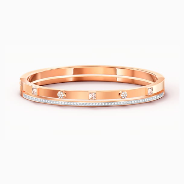 Thrilling Bangle, White, Rose-gold tone plated - Swarovski, 5572925