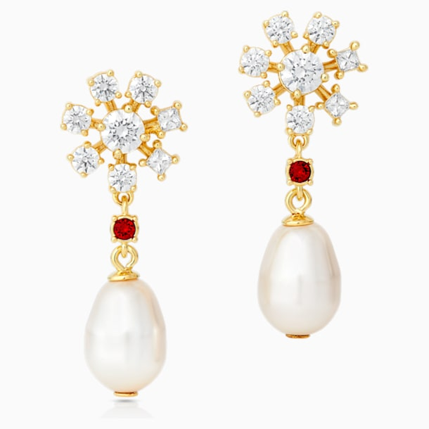 Penélope Cruz Icons of Film Pearl Pierced Earrings, Red, Gold-tone plated - Swarovski, 5573958