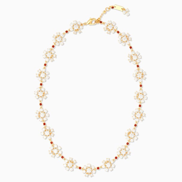 Collier Penélope Cruz Icons of Film Flower, rouge, métal doré - Swarovski, 5573959