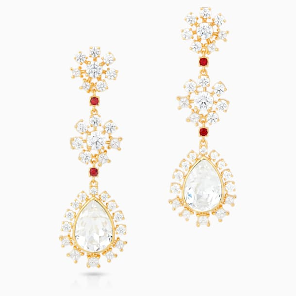 Penélope Cruz Icons of Film Flower Pierced Earrings, Red, Gold-tone plated - Swarovski, 5573960