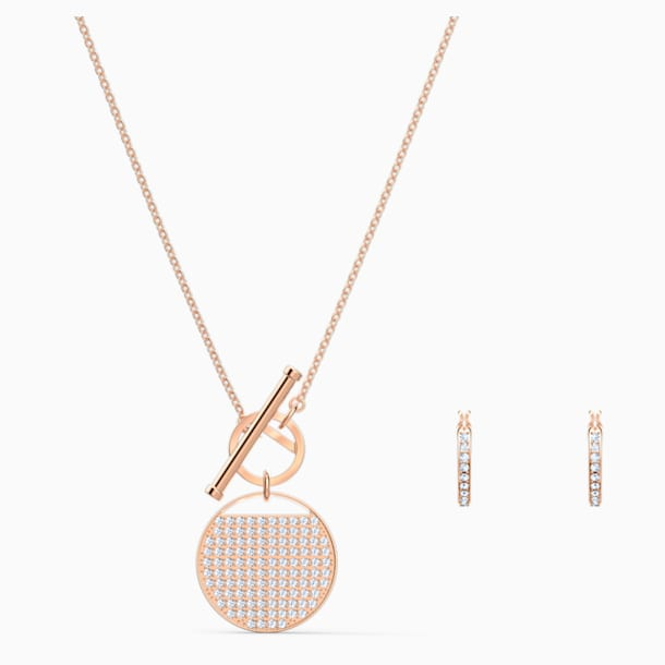 Ginger T Bar Set, White, Rose-gold tone plated - Swarovski, 5574915