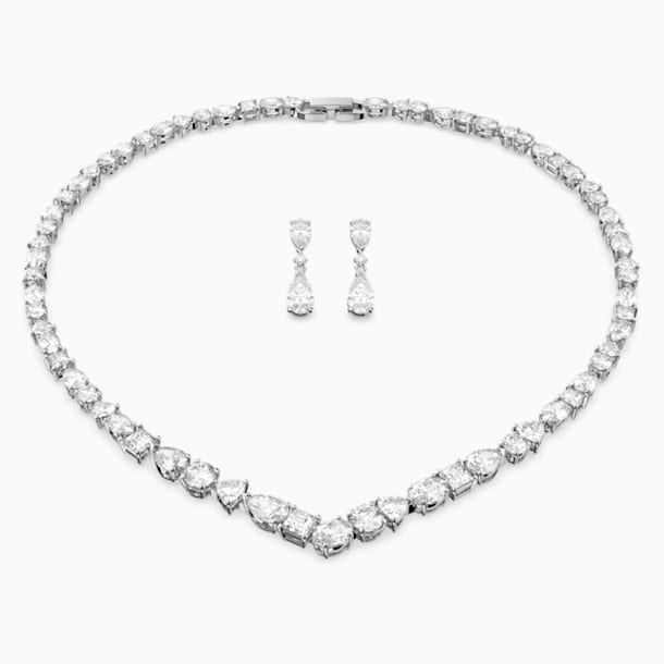 Tennis Deluxe V Mixed Set, White, Rhodium plated - Swarovski, 5575495