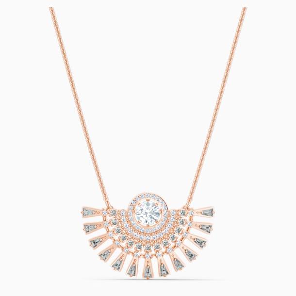 Κολιέ Swarovski Sparkling Dance Dial Up, μεσαίο μέγεθος, γκρίζο, επιχρυσωμένο με ροζ χρυσό - Swarovski, 5578116