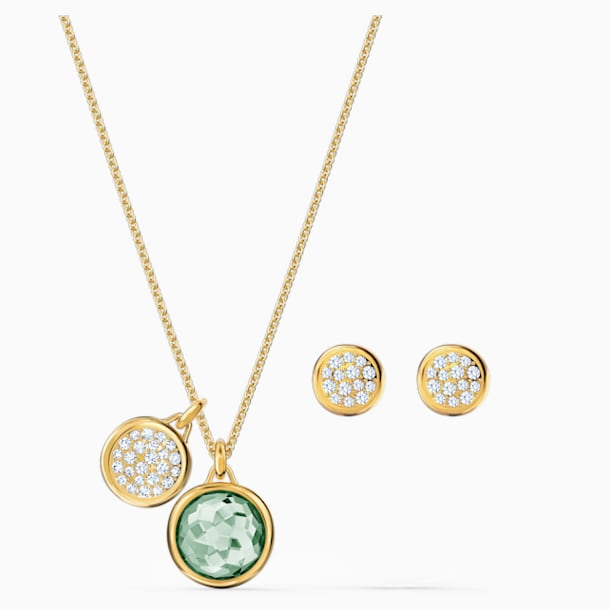 Tahlia Set, Green, Gold-tone plated - Swarovski, 5579789