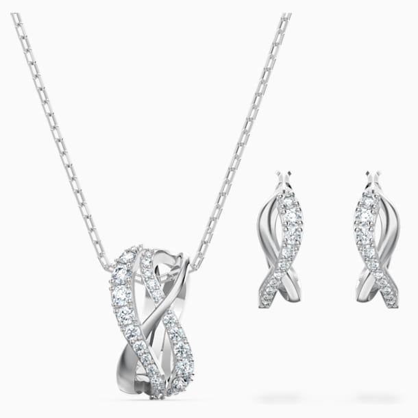 Twist Set, White, Rhodium plated - Swarovski, 5579790