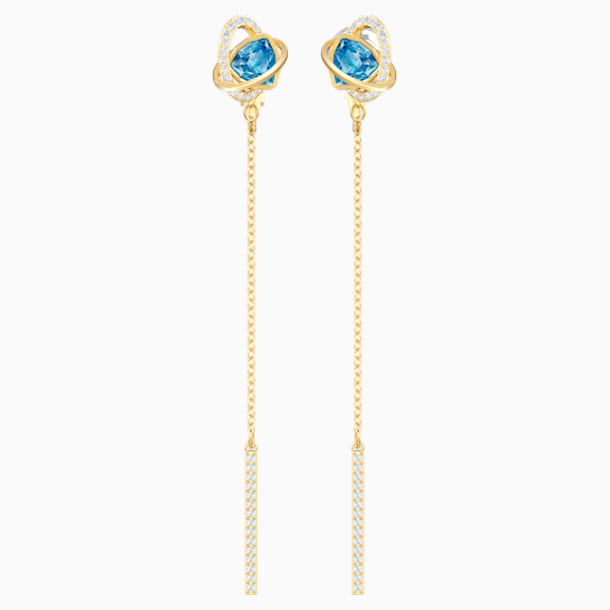 Outstanding Pierced Earrings, Aqua, Gold-tone plated - Swarovski, 5580273