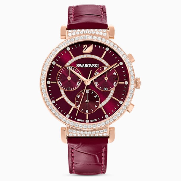 Passage Chrono Watch, Leather strap, Red, Rose-gold tone PVD - Swarovski, 5580345