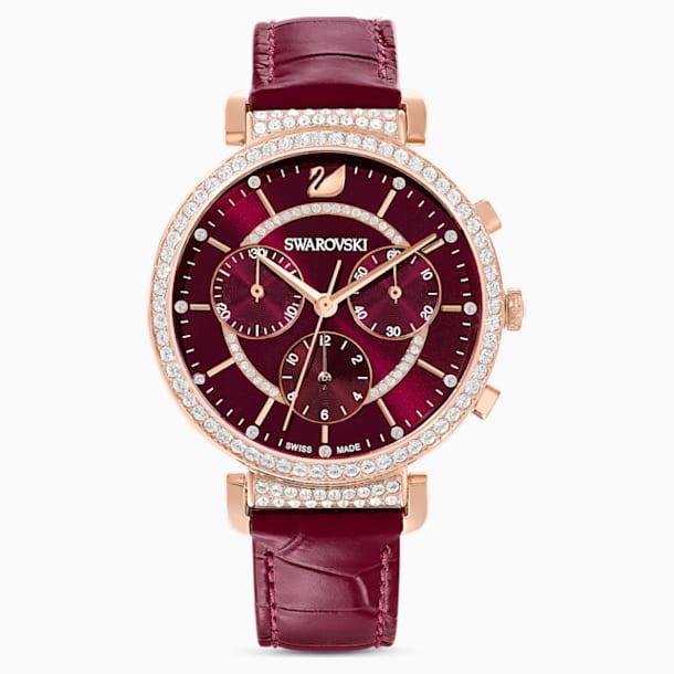 Passage Chrono Watch, Leather strap, Red, Rose-gold tone PVD - Swarovski, 5580345