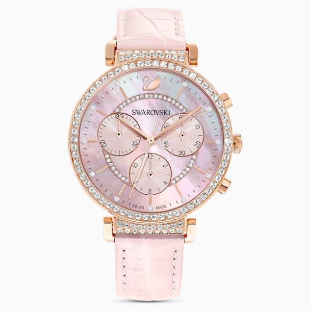 Passage Chrono 腕表, 真皮表带, 粉红色, 玫瑰金色调 PVD - Swarovski, 5580352