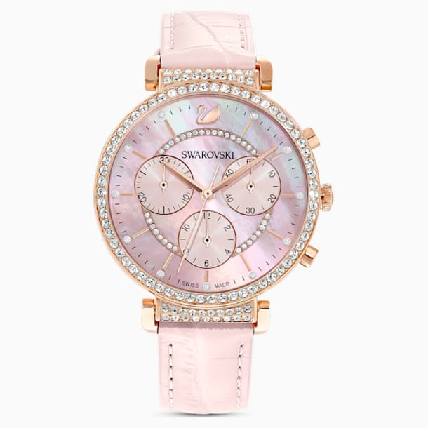 Passage Chrono Uhr, Lederarmband, rosa, rosé vergoldetes PVD-Finish - Swarovski, 5580352