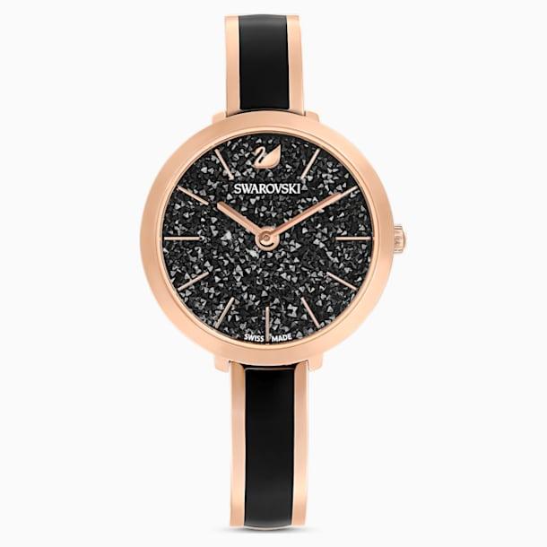 Crystalline Delight Watch , Metal bracelet, Black, Rose-gold tone PVD - Swarovski, 5580530