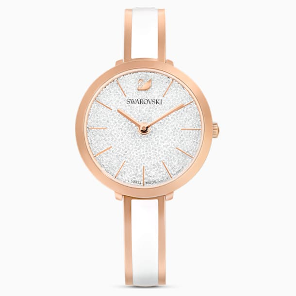 Crystalline Delight Watch , Metal bracelet, White, Rose-gold tone PVD - Swarovski, 5580541