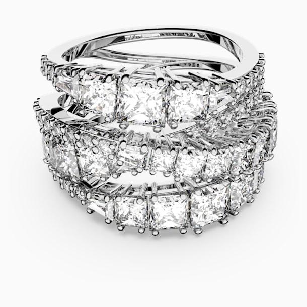 Spleciony pierścionek Twist, biały, powlekany rodem - Swarovski, 5584646