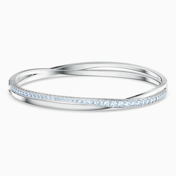 Twist Rows Bracelet, Blue, Rhodium plated - Swarovski, 5584648