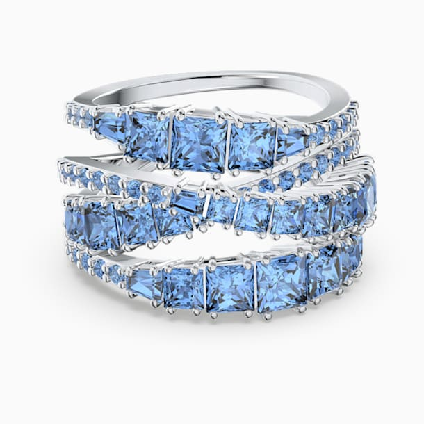 Twist Wrap Ring, Blue, Rhodium plated - Swarovski, 5584653