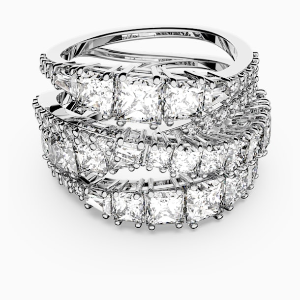 Twist Wrap gyűrű, fehér, ródiumbevonattal - Swarovski, 5584656