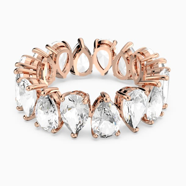 Vittore Pear Кольцо, Белый Кристалл, Покрытие оттенка розового золота - Swarovski, 5586162