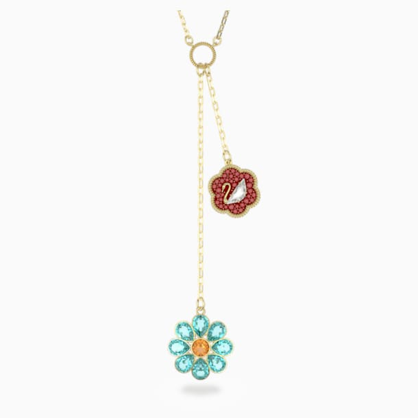 Flower of Fortune Y Necklace, Flower, Multicolor, Gold-tone plated - Swarovski, 5597664