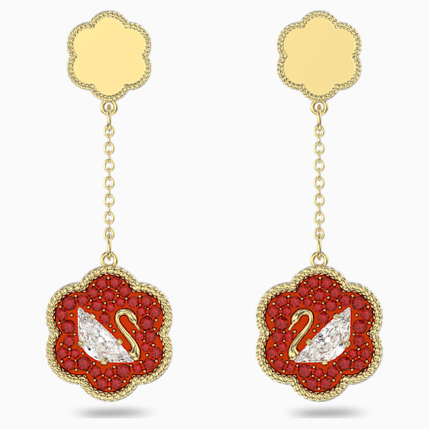 Flower of Fortune Pierced Earrings, Swan, Red, Gold-tone plated - Swarovski, 5597667