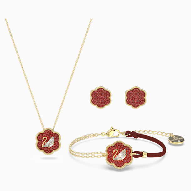 Flower of Fortune Set, Red, Gold-tone plated - Swarovski, 5597670
