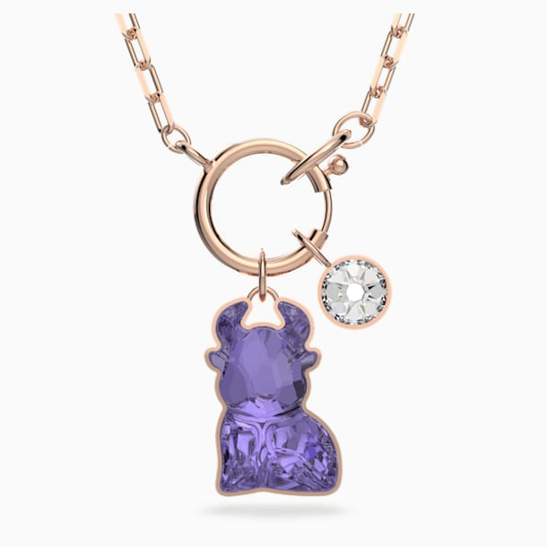Chinese Zodiac Necklace, Violet, Rose-gold tone plated - Swarovski, 5599139