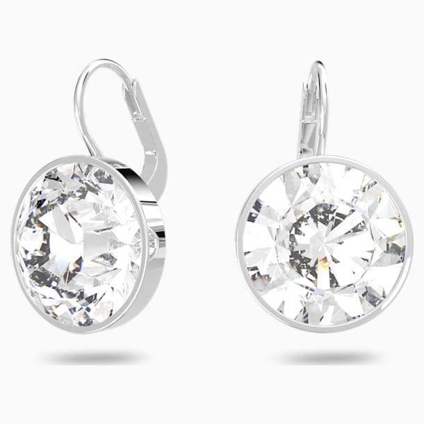 Bella Pierced Earrings, White, Rhodium plated - Swarovski, 883551
