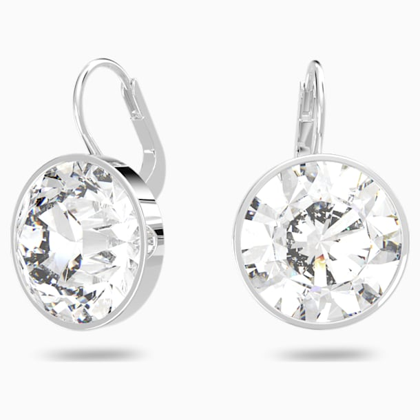 Bella Pierced Earrings, White, Rhodium plated - Swarovski, 883551