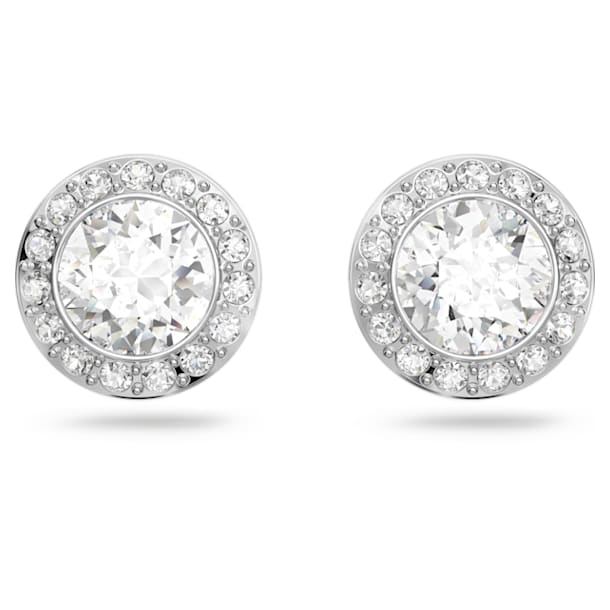 Angelic stud earrings, Round cut crystal, White, Rhodium plated - Swarovski, 1081942