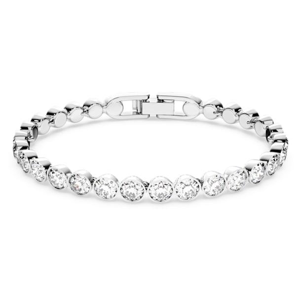 Tennis bracelet, Round, White, Rhodium plated - Swarovski, 1791305