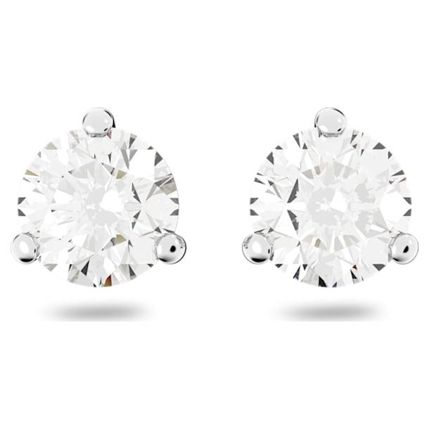 Pendientes de botón Solitaire, Cristal de talla redonda, Blancos, Baño de rodio - Swarovski, 1800046