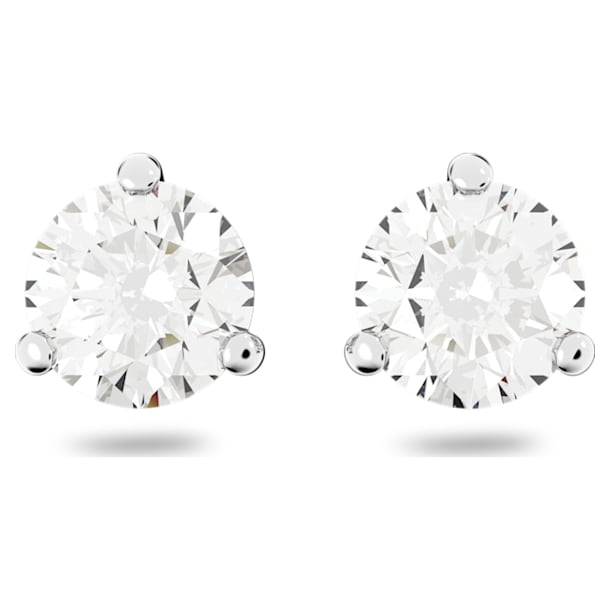 Solitaire stud earrings, Round cut crystal, White, Rhodium plated - Swarovski, 1800046
