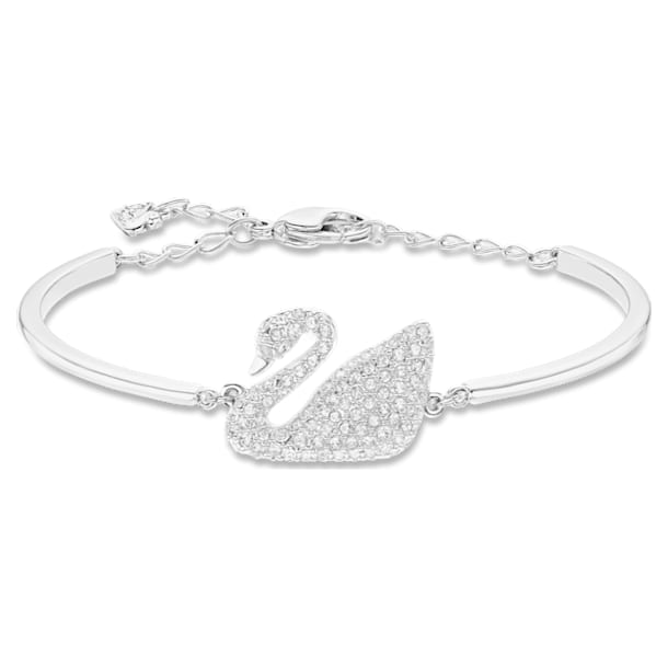 Swan Bangle, White, Rhodium plated - Swarovski, 5011990