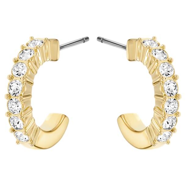 Mini Hoop oorstekers, Wit, Goudkleurige toplaag - Swarovski, 5022451