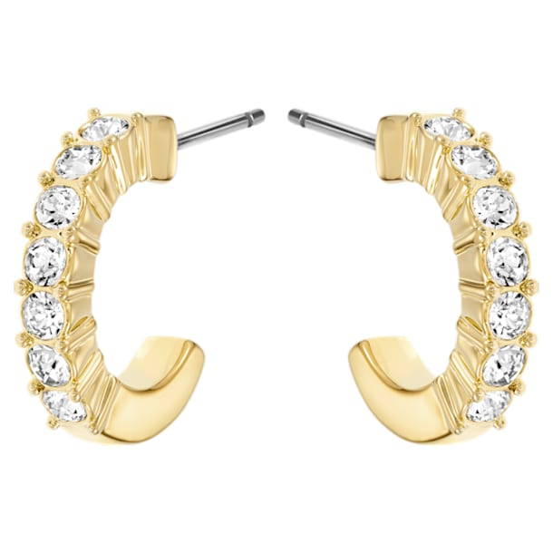 Mini Hoop Ohrringe, Weiss, Goldlegierung - Swarovski, 5022451