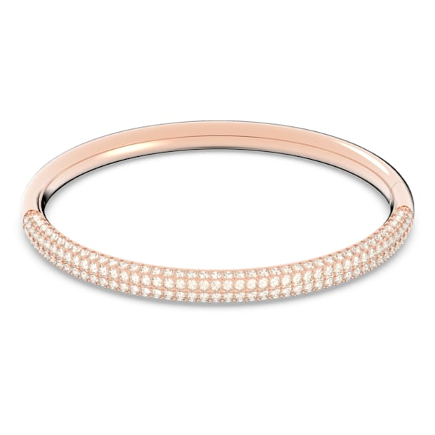 Stone Bangle, White, Rose-gold tone plated - Swarovski, 5032850