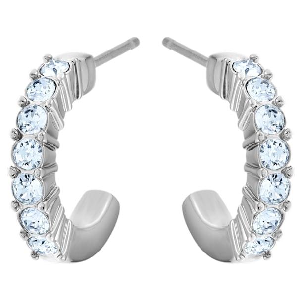 Mini Hoop oorstekers, Blauw, Rodium toplaag - Swarovski, 5073036