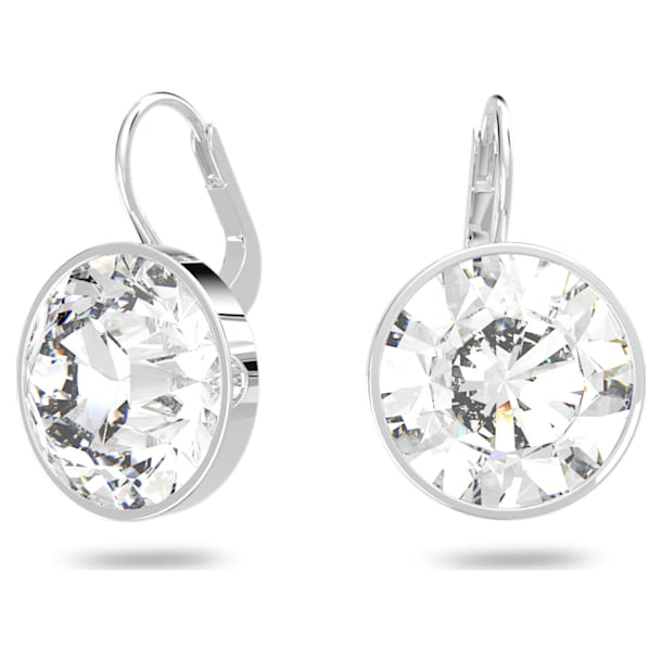 Bella Mini 穿孔耳環, 白色, 鍍白金色 - Swarovski, 5085608