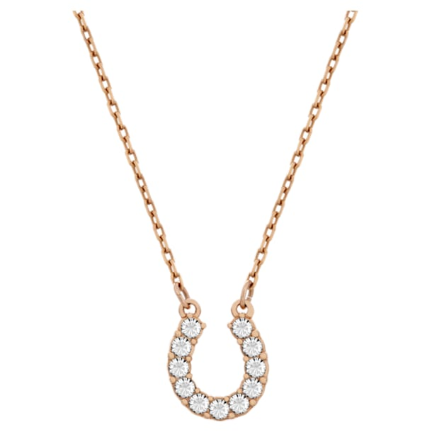 Towards necklace, Horse shoe, White, Rose gold-tone plated - Swarovski, 5094964