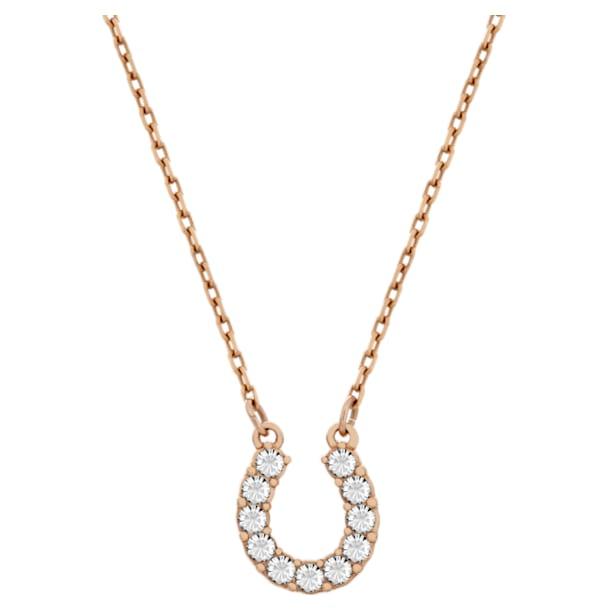 Towards necklace, Horseshoe, White, Rose-gold tone plated - Swarovski, 5094964