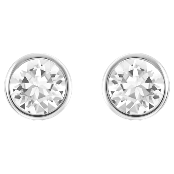 Solitaire pierced earrings, White, Rhodium plated - Swarovski, 5101338