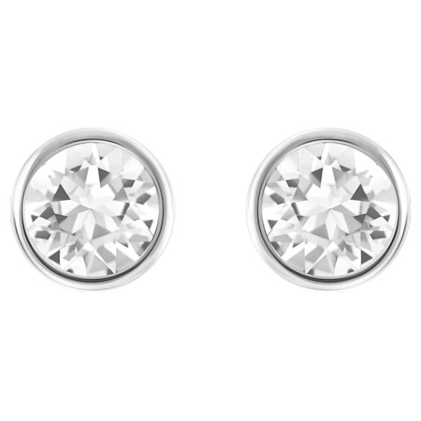 Solitaire oorstekers, Wit, Rodium toplaag - Swarovski, 5101338