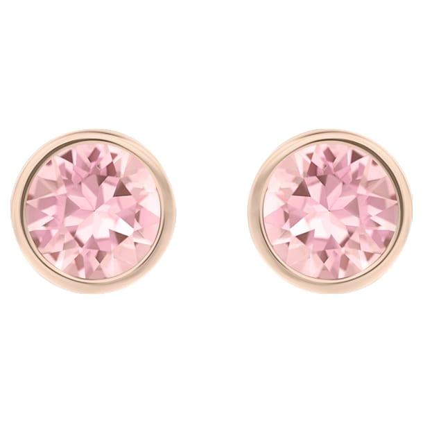 Τρυπητά σκουλαρίκια Solitaire, ροζ, επιχρυσωμένα σε χρυσή ροζ απόχρωση - Swarovski, 5101339