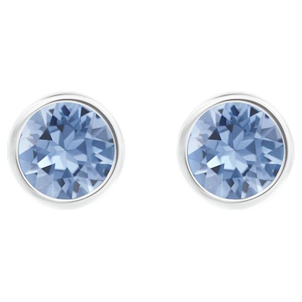 Solitaire pierced earrings, Blue, Rhodium plated - Swarovski, 5101342